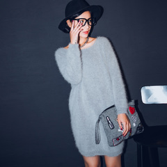 QUEENZZ Europe and the socialite winds fall/winter 2014 new Mao Diao long cashmere t high-quality long wool #