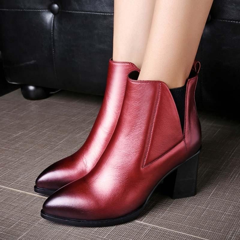头层牛皮擦色粗跟短靴全皮休闲百搭女鞋D62-2