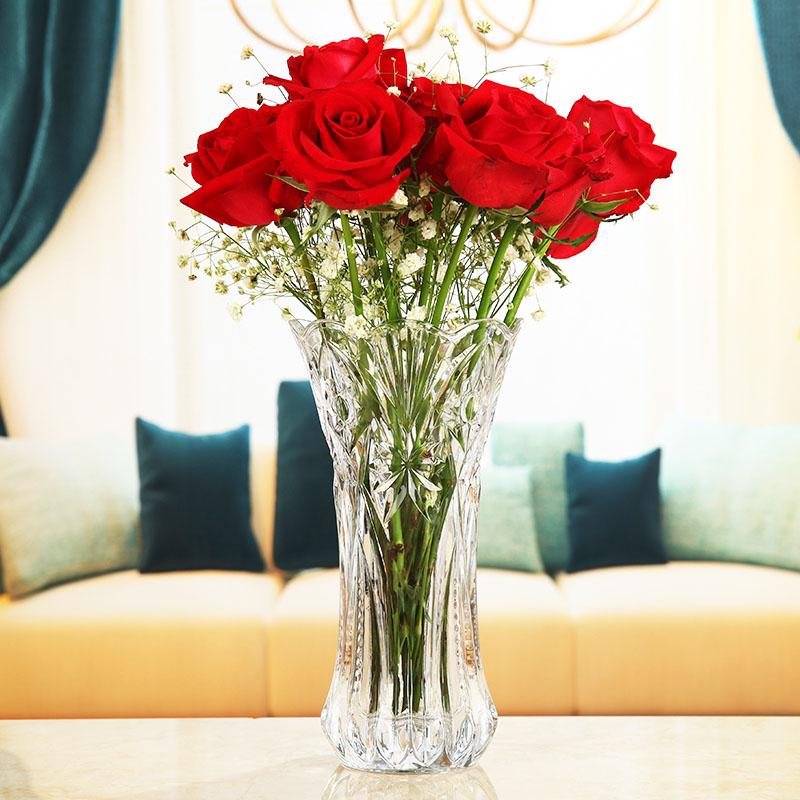 大號簡約加厚水培 玻璃花瓶透明富貴竹插花器居家裝飾品客廳擺件