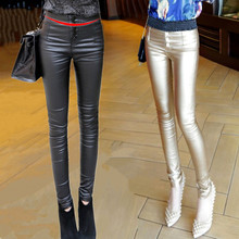 New high of 2015 autumn winters is natural waist coating PU leather pants leggings yards cultivate one's morality show thin elastic outside foot trousers