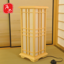 Wooden custom and room floor lamp Japanese-style tatami floor lamp Pinus camphor solid wood floor lamp