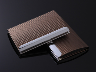 Korean version of men s business card holder high grade metal fabric Plaid Ms fashion Cardcase card