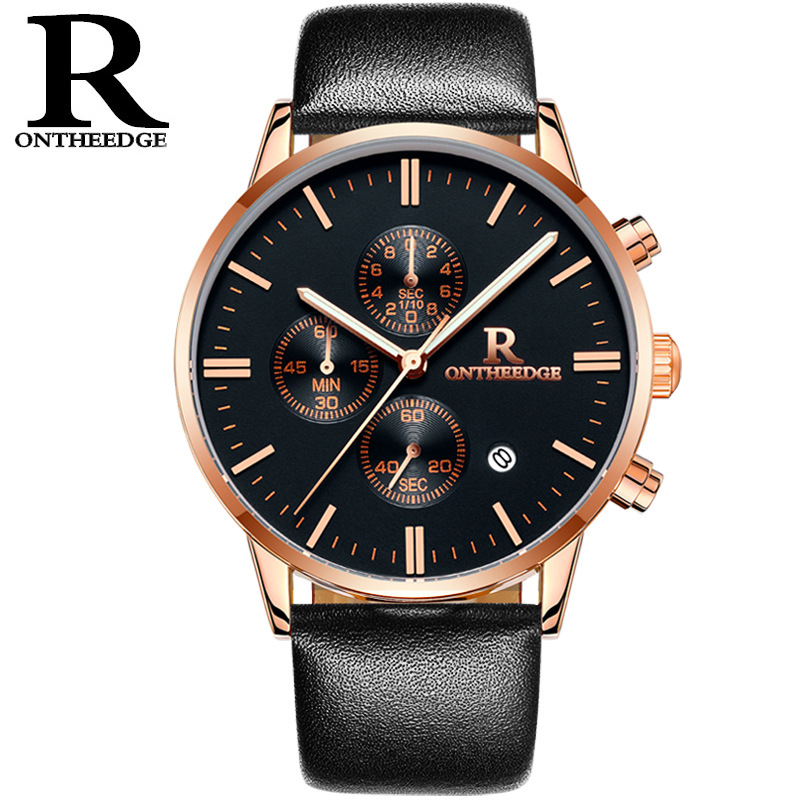 Authentic mens watch mens watch real belt waterproof business watch student fashion trend sports multifunctional watch