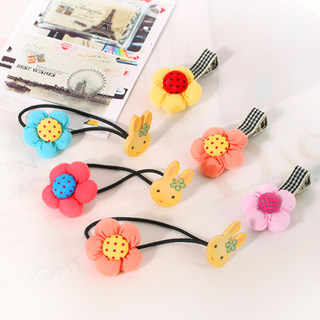 Know NI Korea fabric flower girls hair bangs clip Bunny a rubber band ropes children''s hair accessories