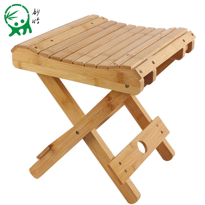 妙竹楠竹折疊凳子便攜式家用實木馬紮戶外釣魚椅小板凳小凳子方凳
