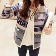 2015韩国春秋装修身针织女士长袖短外套开衫休闲印花棒球服韩版潮