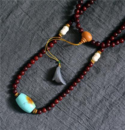 已结缘 天然印度金星小叶紫檀佛珠项链高油高密+大颗绿松石吊坠