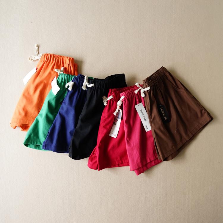 Экспортных заказов на 2015 год лето Сладкая Мода дамы упругие талии сплошного хлопок Брюки прямые брюки шорты