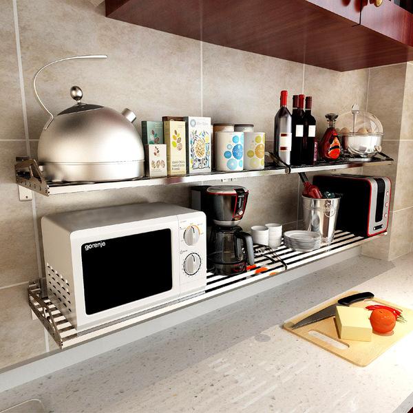 厨房置物架 壁挂 304不锈钢微波炉架层架搁板支架收纳架墙上