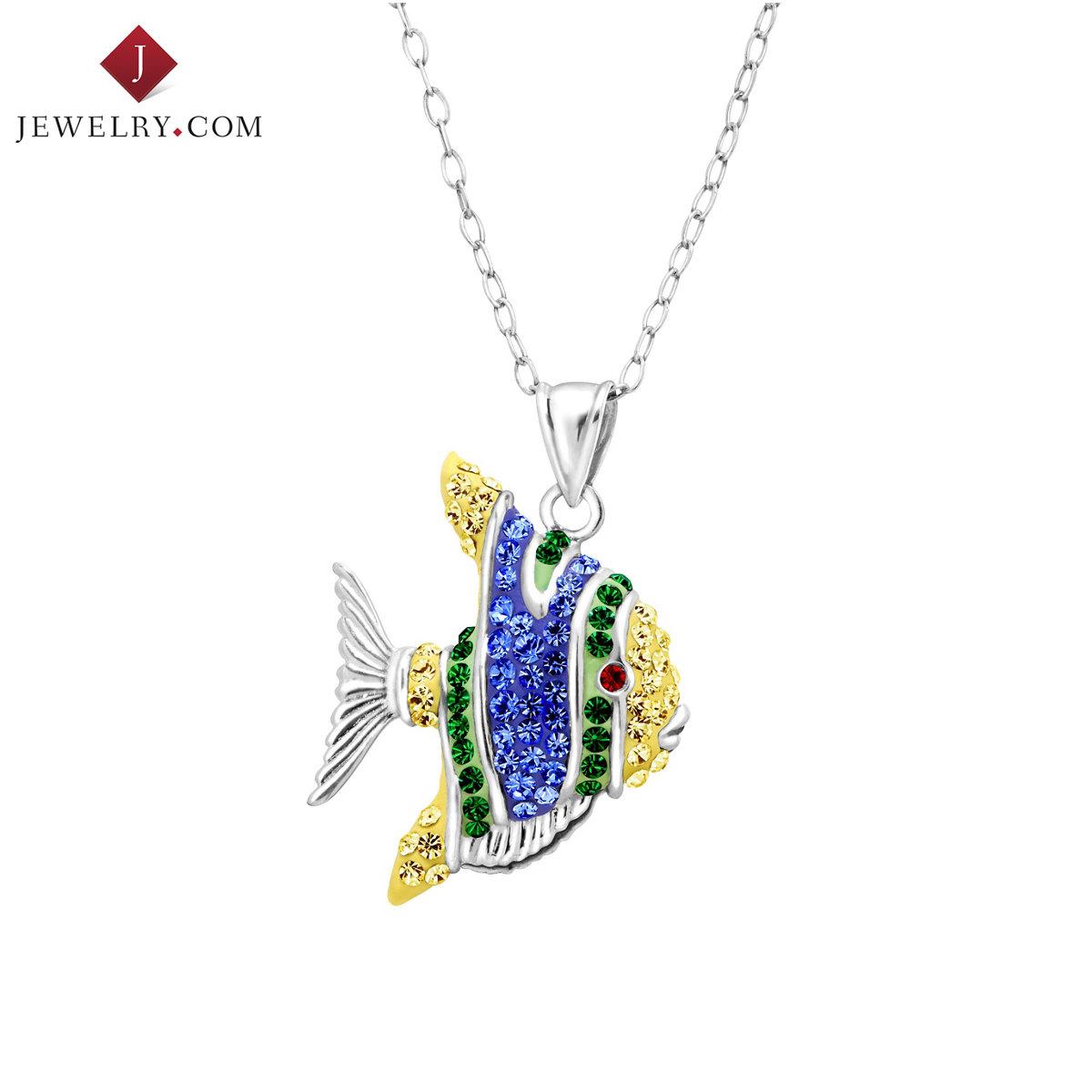 Crystaluxe 925 серебро мозаика сваровски мир странный элемент кристалл тропические рыбы блестящий милый подвески женщина