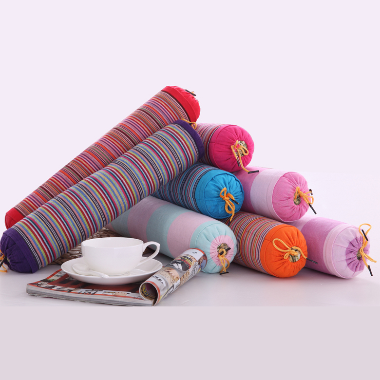 馥家紡 老粗布糖果枕頸椎枕蕎麥殼護頸枕頭圓柱枕保健枕小巧型