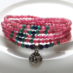 Natural ice waxy pink tourmaline ring bracelet ladies 925 Silver lapis lazuli accessories across the turquoise beads