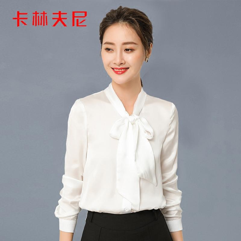 Kalinfny chiffon blouse womens top long sleeve small shirt bow bottom shirt 2018 new Korean slim shirt