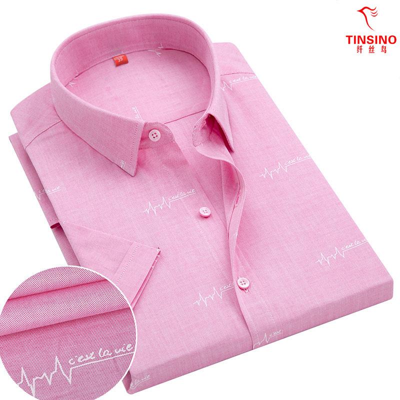 纤丝鸟夏季新款纯棉牛津纺男士短袖衬衫粉色印花时尚全棉半袖衬衣