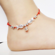 Anklets red rope female han edition fashion anklets fish pin peace bell bell anklets wholesale sale couple characteristics