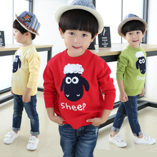 2015 sets of children's wear boy's sweater autumn outfit round collar render unlined upper garment of cotton children children knit sweater