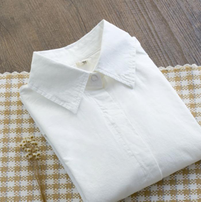 限100000张券春秋装纯棉长袖白衬衫学院风打底衫