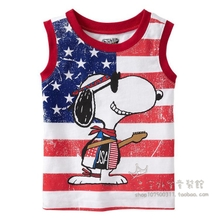 Children's clothing baby summer wear vest in the summer of male children with children The boy vest Cotton red snoopy