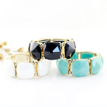 The new trend in 2015 Fashionable joker euramerican popularity bracelet Personality quality big gem elastic female bracelet factory