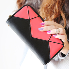 KQueenStar 2015 new retro fashion geometric ling long madame splicing bump color wallet purse