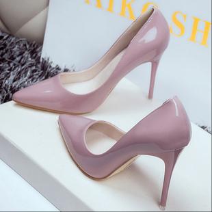 歐美10cm裸色尖頭高跟鞋女春細跟中跟少女性感黑色漆皮小清新單鞋