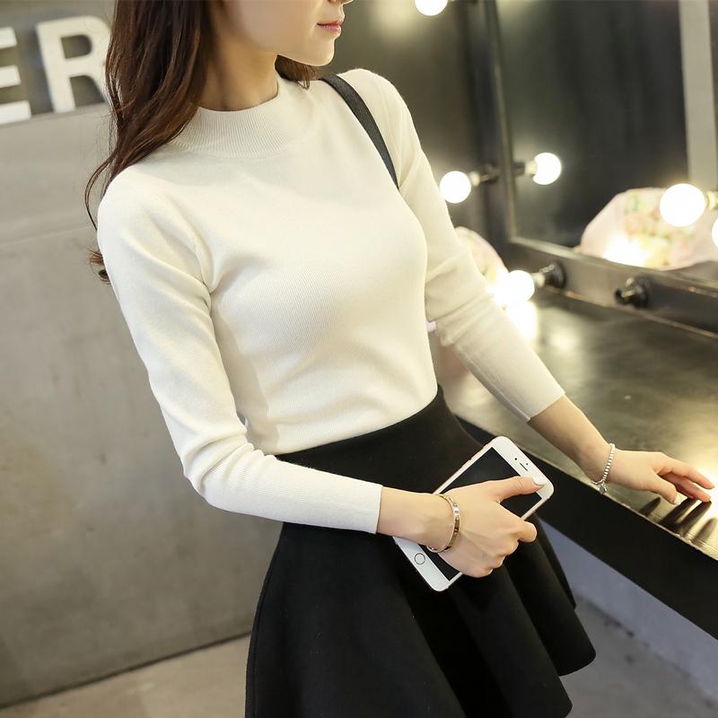 新款毛衣女短款冬装加厚韩版半高领修身针织衫秋冬长袖套头打底衫