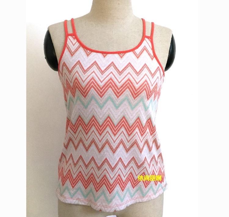 Foreign trade pastoral bottoming, wearing striped leisure knitted suspenders, ladies show thin and sweet beauty summer vest