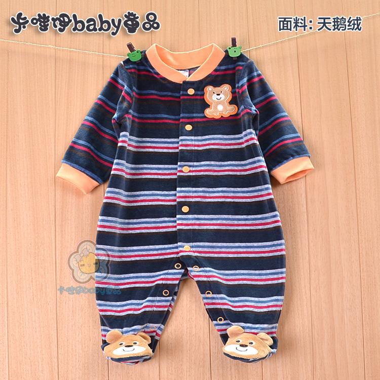 Весна и осень младенческой onesies baby одежда, одежда младенца мальчика бархатные сумки ног 0-1 Весна платье ребенка