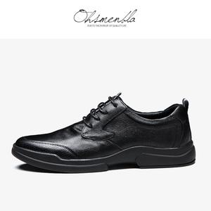 男士休闲皮鞋 英伦风手工皮鞋商务男鞋透气软面秋冬季鞋子 潮