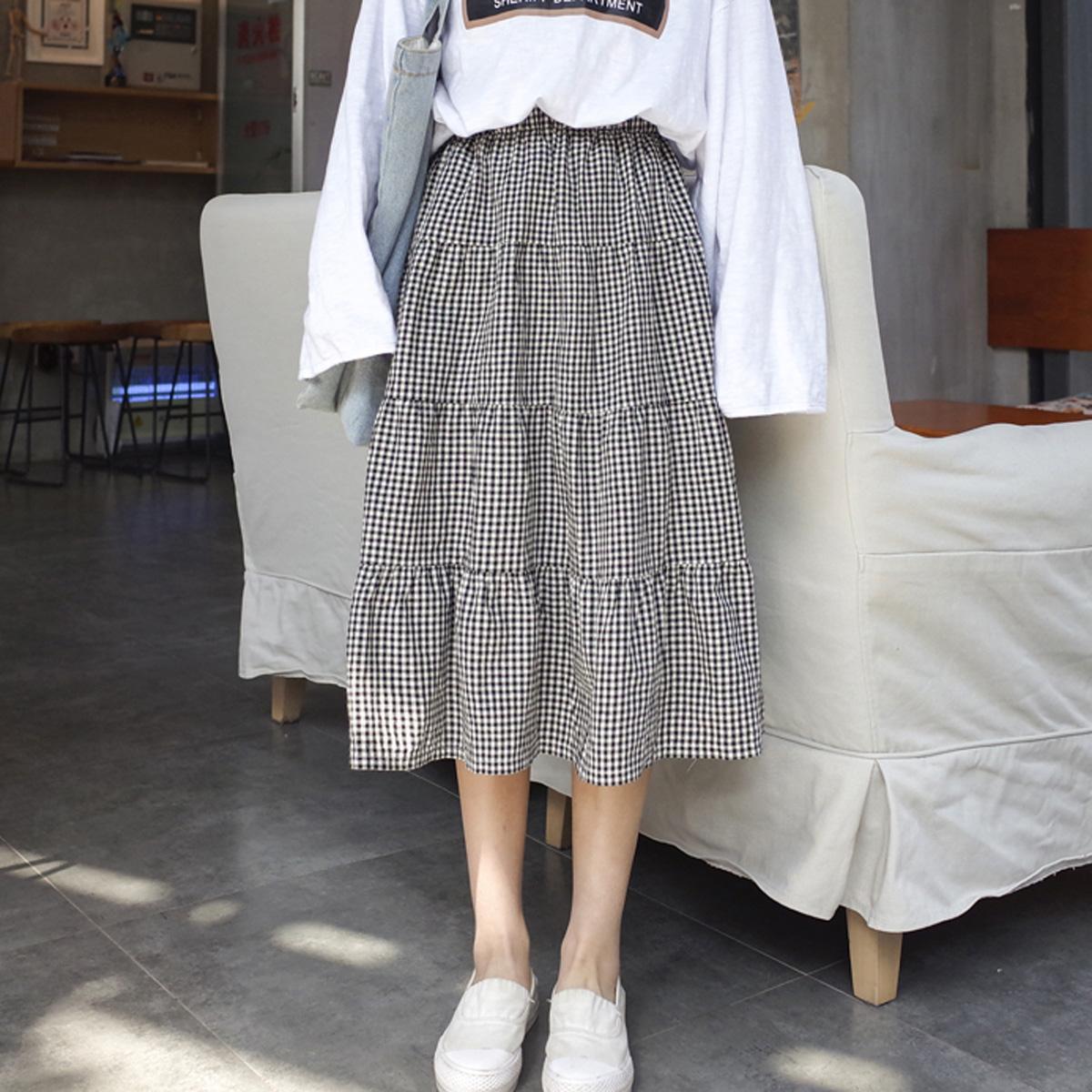 夏季女装2018新款韩版宽松中长款A字裙松紧腰复古格子半身裙学生