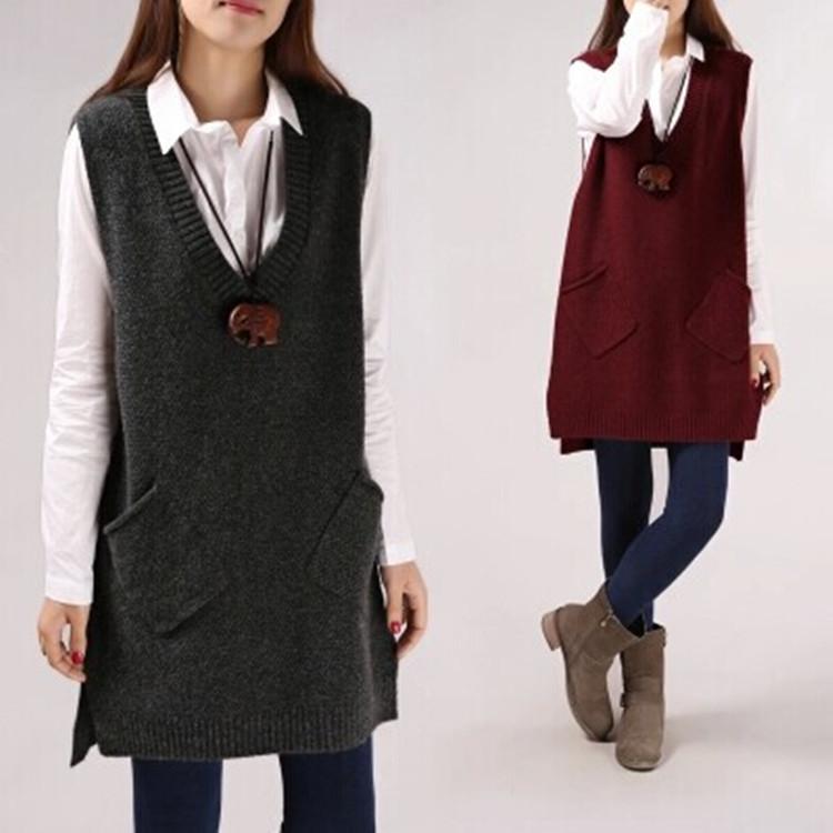 Новый v-образным вырезом вязать свитер жилет для женщин без рукавов свитер длинный свободную от перенапряжения в корейской версии один кусок жилет осень/зима