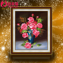 5 d rubik's cube diamond diamond embroidered rose vase The new wedding painting flowers sitting room dining-room bedroom series