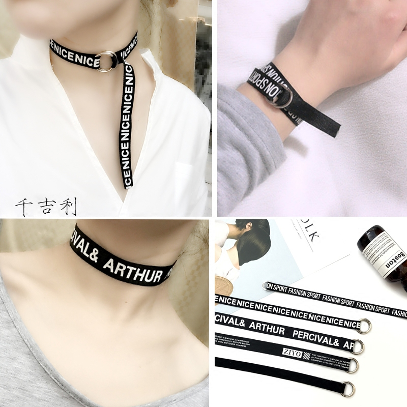 Necklace South Korean belt round buckle Black Punk letter personality long collar collar collar bone Necklace men and women lovers fashion
