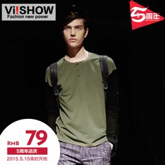 Viishow2015 spring for the new cotton long sleeve t shirt men t stitching slim Europe, simple men t