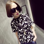 夏季新品韓版上衣可愛卡通米奇短袖體恤衫原宿風大碼女裝短袖t恤