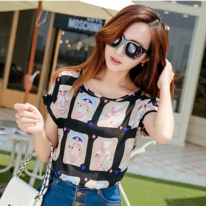 Korean version of the sexy summer loose chiffon shirt sweet chiffon short-sleeved t-shirt shirt female