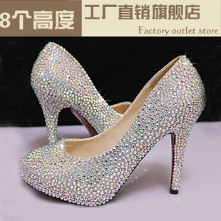 Seasons new bride wedding shoes glass slipper diamond inlaid handmade wedding seven color high heeled female waterproof