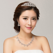 New wedding crown necklace pendant three-piece high-grade alloy diamond hx10 first act the role ofing is tasted the bride party performance