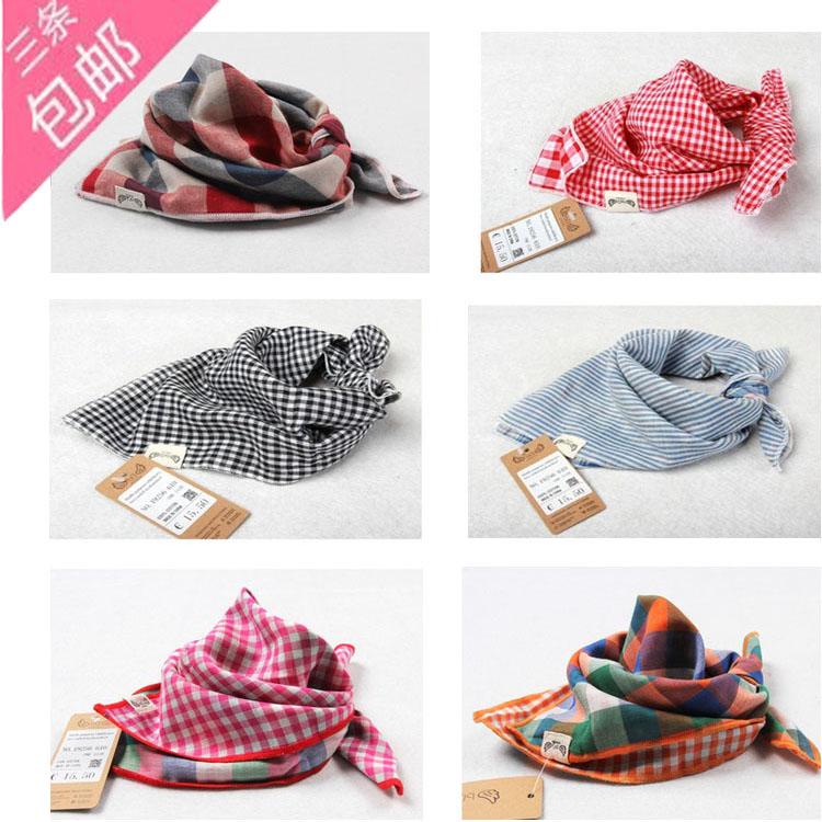 純綿ガーゼの二重の両面の格子の子供の四角巾赤ちゃんのつばのマフラーのスカーフのスカーフの頭巾