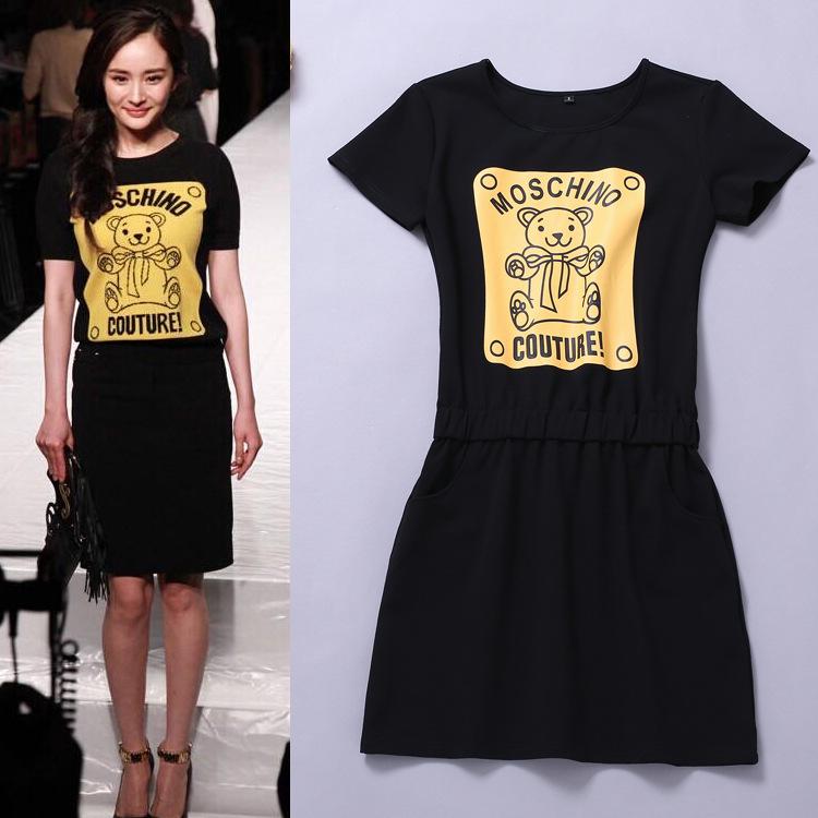 Летние платья плюс размер Женская одежда новая Янцзы власть с Moschino свитер медведь коротким рукавом платье