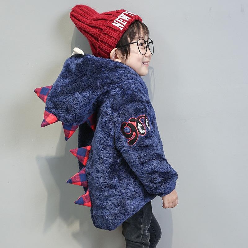 男童冬裝棉襖外套2016 恐龍毛毛衣兒童連帽羊羔絨棉衣潮