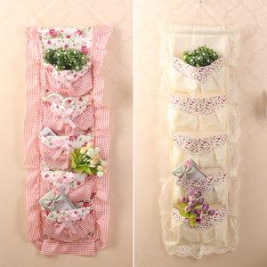 包邮时尚韩版布艺蕾丝挂袋口罩收纳袋门后墙面杂物袋五兜挂置物袋