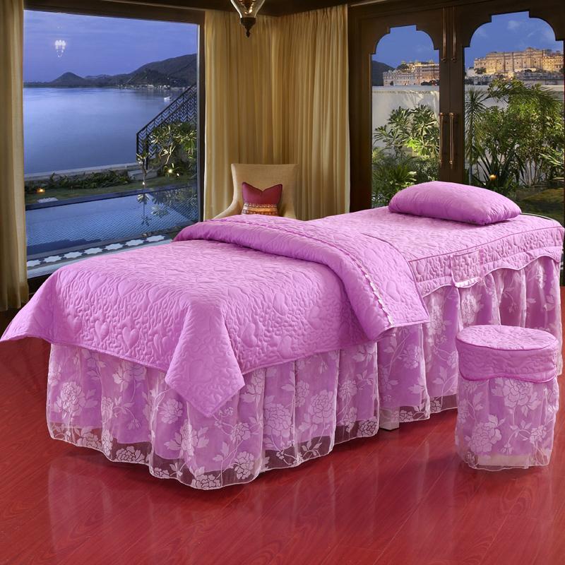 美容按摩床罩 美體床罩四件套 美容院 磨毛床罩