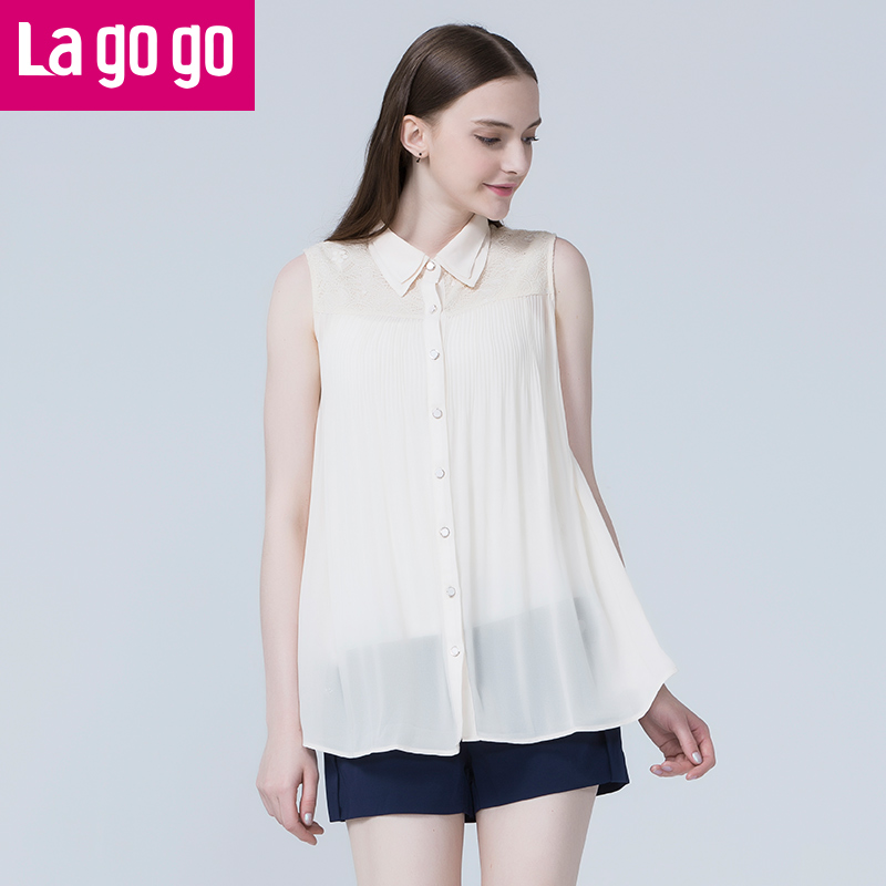 lagogo拉穀穀白色 無袖大碼雪紡衫 百搭寬鬆上衣兩件套4BA666B412
