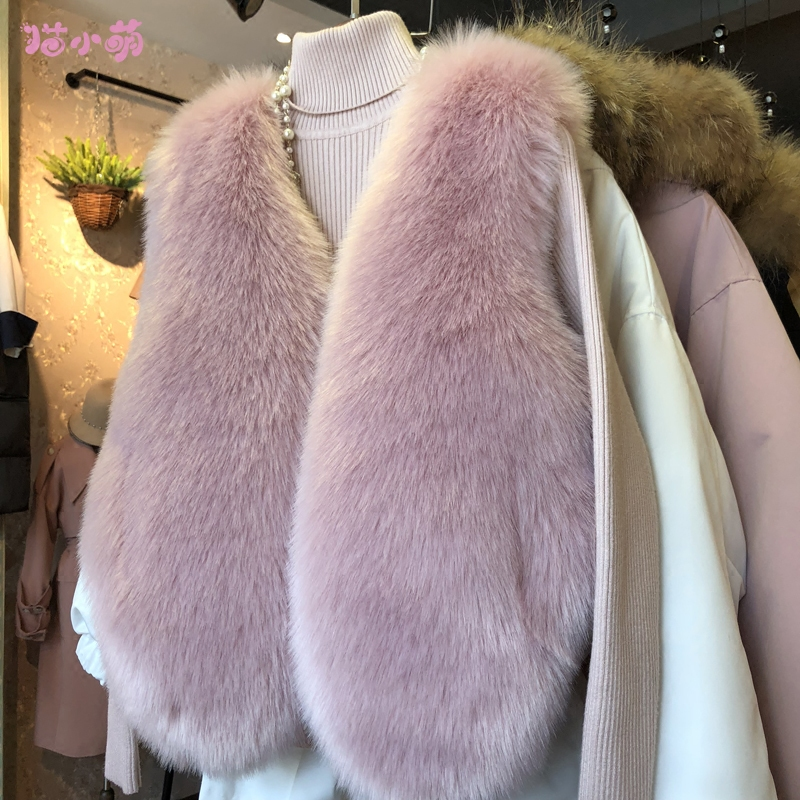Autumn and winter 2020 new Fox Fur grass waistcoat with slim coat, slim sleeve and short hairy vest