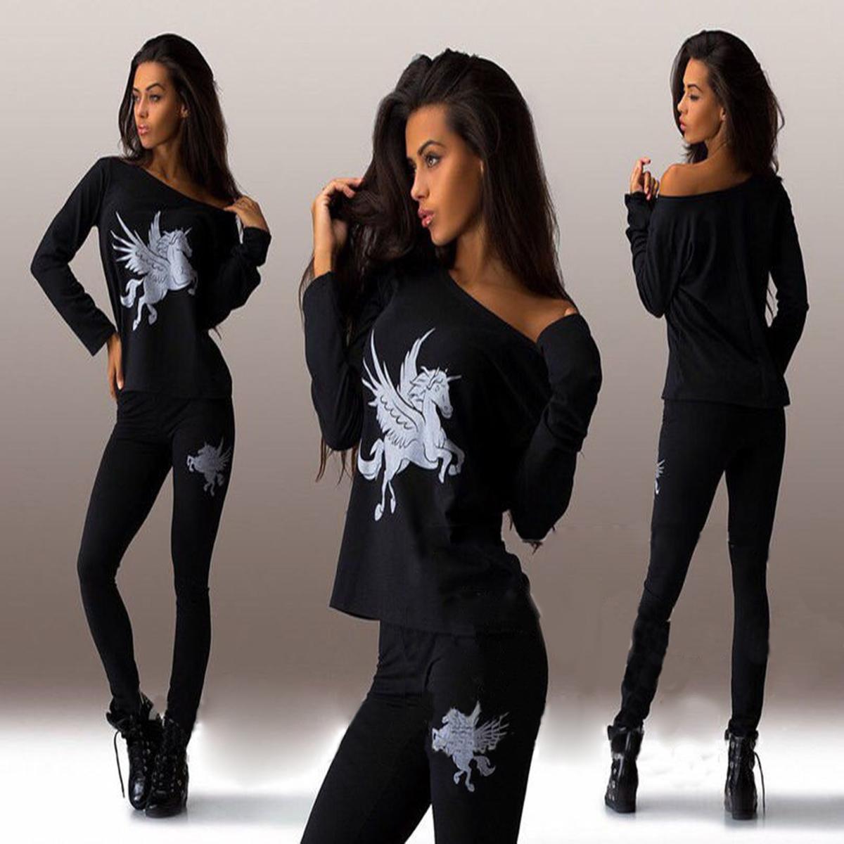 к 2015 году новые европейские модные тенденции в области внешней торговли Pegasus печати горизонтальной шеи футболки + брюки костюмы KF750
