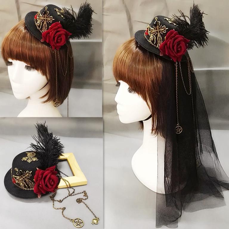 包邮蒸汽朋克帽子复古lolita小礼帽配饰齿轮基佬聚会演出装饰头纱