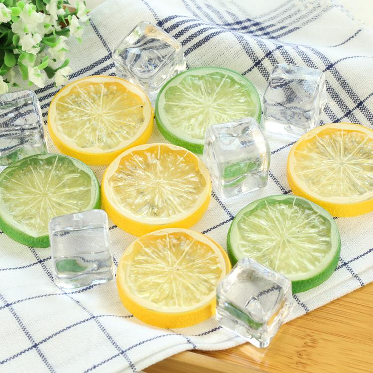仿真柠檬片2个价 摄影辅助道具 食品杯子水搭配摆件 拍照拍摄道具