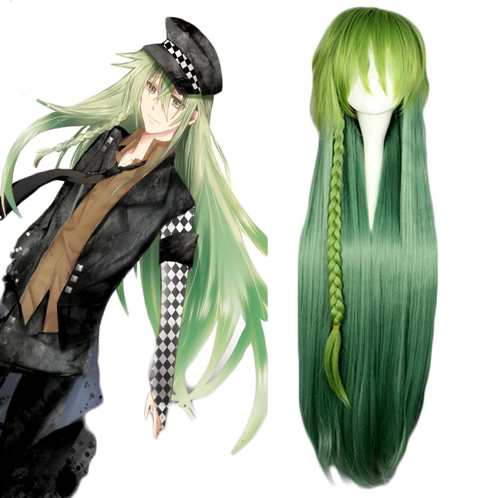 Amnesia ukyo Youjing cos Wig Mens green gradual change long straight hair twist braid Cosplay Animation Fashion