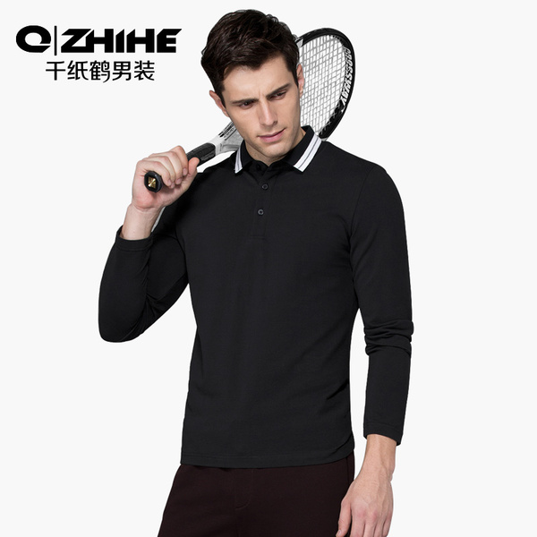 Origami Men's long-sleeved t-shirt black youth jacket lapel hit color simple solid color polo shirt M 2159